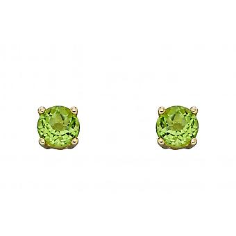 Elements Gold 9ct August Peridot 4mm Stud Earrings GE2333