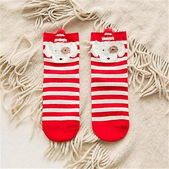 Baby Girls / Boys Kids Xmas Socks - Striped Terry Snowflake Elk Santa Claus Christmas Bear