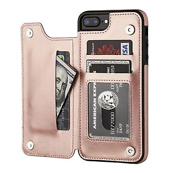 Stoff zertifiziert® Retro iPhone XS Max Leder Flip Case Brieftasche - Brieftasche Cover Cas Fall Rose Gold