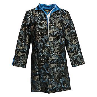 Heidi Daus Women's Modern Monarch Jacquard Open Front Jacket Black 628-855