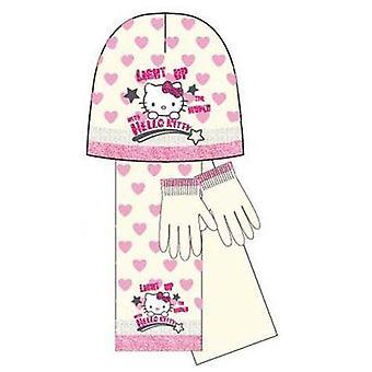 Kids Girls Hello Kitty Light Up Scarf Gloves Set