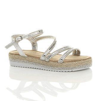 Ajvani womens Cunha baixa plataforma diamante sandálias flatform alpercatas