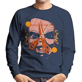 Chucky Bästa vän Scissors Face Män & apos;s Sweatshirt