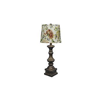 Nødlidende brun traditionel bordlampe med blomsterskygge