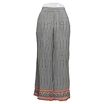 Tolani Women's Petite Pants Printed Pull-On Woven Palazzo Black A347426
