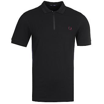 Fred Perry Verjüngte Zip schwarz Polo Shirt