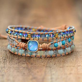 Women Bracelets Natural Opal Stone, Rhinestone Leather Wrap Bracelet, Fancy