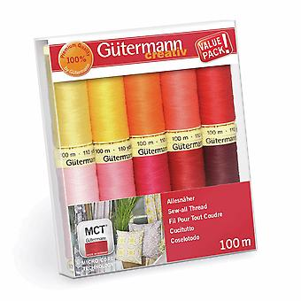 Gutermann Sew-All Red Pink Yellow Set - 100% Polyester Thread 100m - 10 Reels