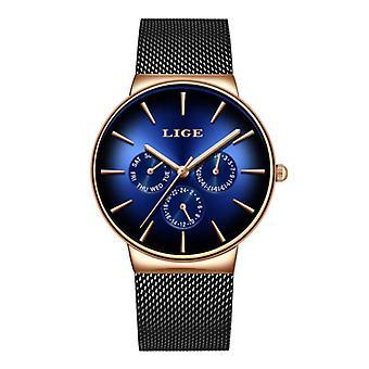 Lige Luxury Watch Men - Anologue Quartz Movement for Men Black