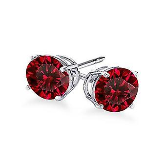 Boucles d'oreilles 4-Prong Round Cut Ruby Stud 0.75 ct. tw.