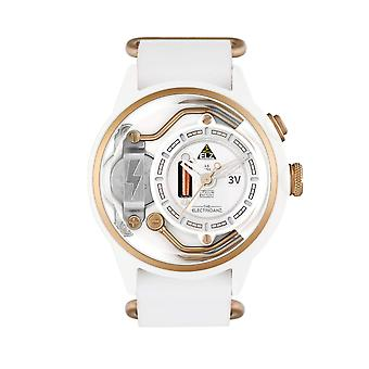 The Electricianz ZZ-A1C/04 The S.now Gold & White Leather Watch
