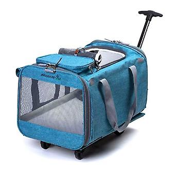 Foldable Pet Rolling Luggage Spinner Cat And Dog Suitcase On Wheels