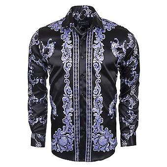 Oscar Banks Satin Baroque Mens Shirt