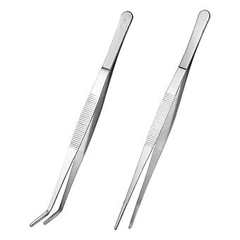 Stainless Steel, Straight Tweezers Feeding Tongs, Curved Nippers Tools