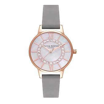 Olivia Burton Ob16wd92 Sparkle Wonderland Midi Grey & Rose Gold Leather Ladies Watch