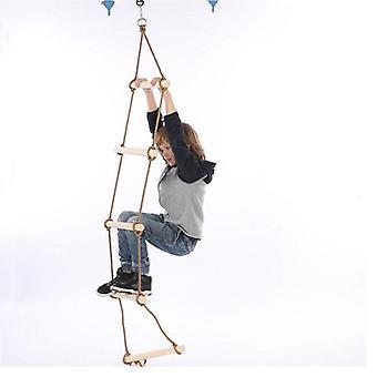 Træ Rungs Rope Ladder - Klatring Fitness Udstyr