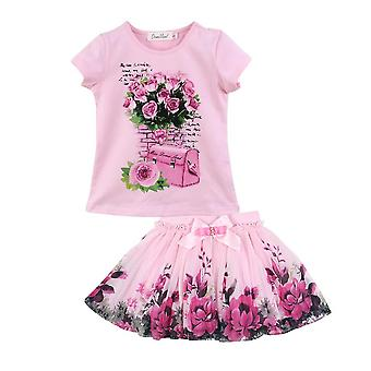 Summer Girl'S Floral Short Sleeve Cotton Top And Skirt Outfit