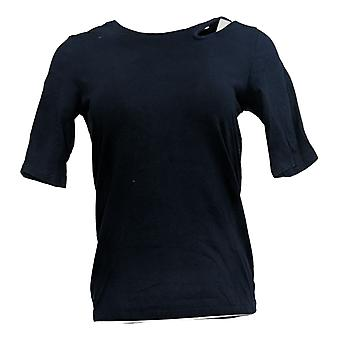 G.I.L.I. Got It Love It Women's Top Elbow Slv Cut Out Detail Blue A368153