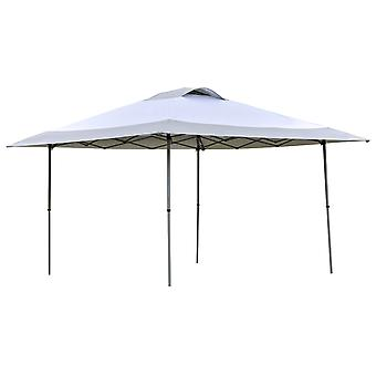 Outsunny 4 x 4m Pop-up Canopy Gazebo Tent with Roller Bag & Adjustable Legs Outdoor Party, Steel Frame, White
