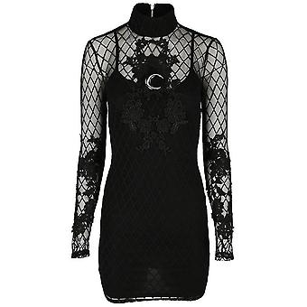 Restyle Mesh Overlay Moon Lace Pencil Dress