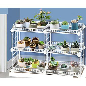 Household Wrought Iron Multi-layer Plant Stand With Four Sides Of  Fence Rack