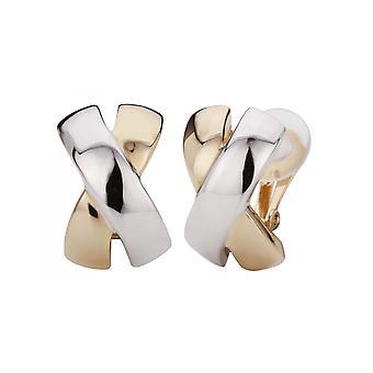 Traveller Clip Earrings 2-tone X-shape - 138057