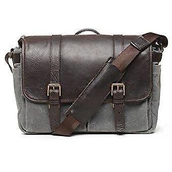 Ona brixton leather messenger bag (50/50 smoke waxed canvas/dark truffle)