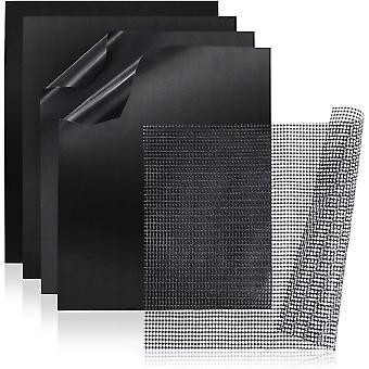 Wokex BBQ Grillmatte + Grillnetz (5er Set) - Wiederverwendbare Premium Grill- und Backmatte mit