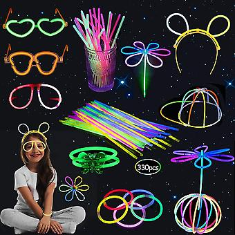 HanFei Knicklichter Party Set, 330 geklebt Farbmix Knicklichter Leuchten, Partylichter Schmetterlinge,