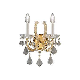 Kolarz MARIA LOUISE - Klassisk Krystall Stearinlys Vegg Lys Polert Gull, 2x E14