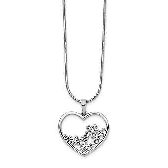 925 Sterling Silver Polerad Hummer Klo Stängning Vit Is Kärlek Hjärta Formad med Flower Center Halsband 18 tum Smycken
