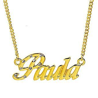 """L Paula - 18 karaattinen kullattu kaulakoru, muokattavissa nimi, säädettävä ketju 16""""- 19"""", Regal Packaging"""