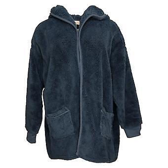 Koolaburra By UGG Women's Sweater Shaggy Plush Cardigan Rib Blue A386142