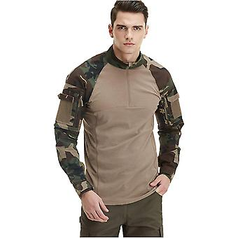 CQR Men's Combat Shirt Tactical 1/4 Zip Assault Military Top Camo EDC, Combat Shirts(tos201) - Woodland Olive, X-Large