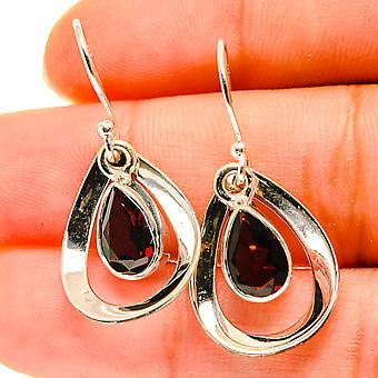 """Garnet Earrings 1 1/4"""" (925 Sterling Silver)  - Handmade Boho Vintage Jewelry EARR417122"""