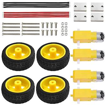 Gear Tt Motor + Tire Wheel Kit For Arduino, Diy Smart Car Robot, Electric Wheel