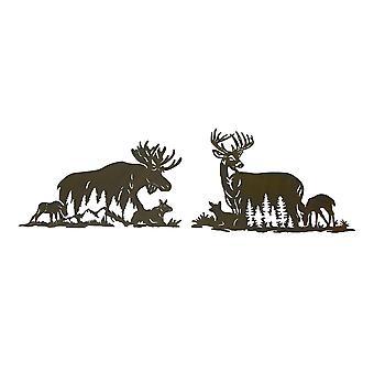 Set of Moose And Deer Family Brown Metal Laser Cut Wall Art Home Lodge Decor