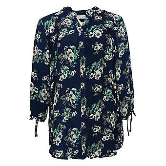Joan Rivers Classics Collection Women's Top 10 Floral Tunic Blue A310924