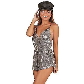 Ladies Tuta a maniche corte Bretelle Sequined Metal Party Jumpsuit(L)