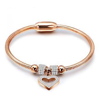Hjärt charm bangles encrusted med kristaller från Swarovski - Rose 2pack