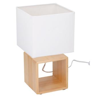 Grundig Table LED lamp E14 fitting wood and fabric on/off switch in cord