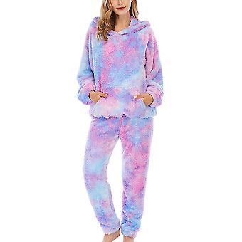 YANGFAN kvinners pyjamas sett med hette slips farge nattøy homewear