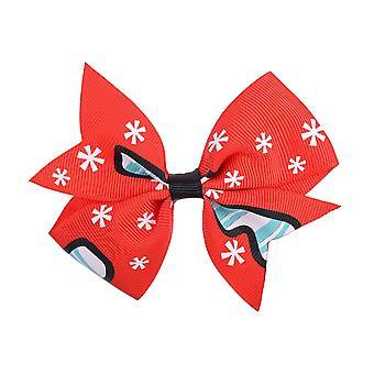 10PCS Söta Chrismas skriva ut hårnålar för barn Grosgrain Ribbon Hair Bows Med Clip Boutique