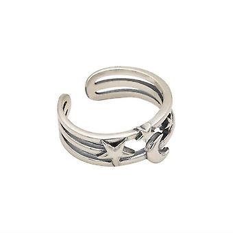 3PCS כסף ציפוי ירח כוכב טבעות פתוחות לנשים זוגות וינטג' מתנות תכשיטים למסיבה פשוטה