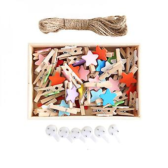 Creative 50pcs Multicolor Star Photo Wall Decoration Clip With 10m Hemp Rope And 6 Wall Hooks