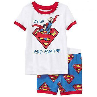 Kids Boy Short Sleeve Superman Batman T-shirt Shorts Set Summer Outfit