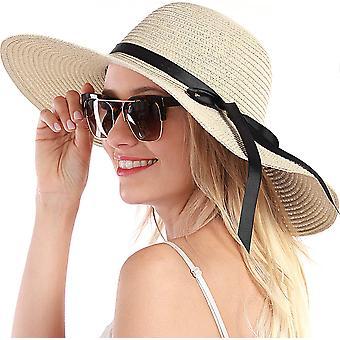 Naisten olkihattu aurinkohattu naisille Beach Cap Summer Uv Protection Upf50+