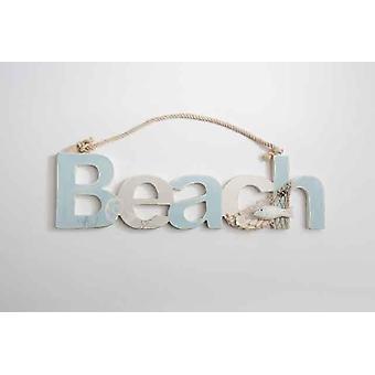 Chic aus Holz Strand Zeichen Wandbehang Dekoration mit Net Seil Muscheln