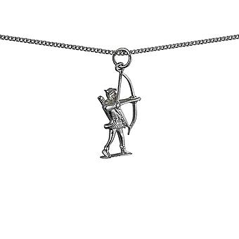 Silver 14x26mm Robin Hood with bow and arrows Pendant with a curb Chain 18 inches