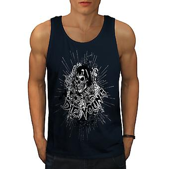 Die Young Flower Skull Men NavyTank Top | Wellcoda
